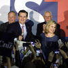 Republican presidential candidate Sen. Ted Cruz, R-Texas, with his wife, Heidi, on caucus night in Des Moines, Iowa.