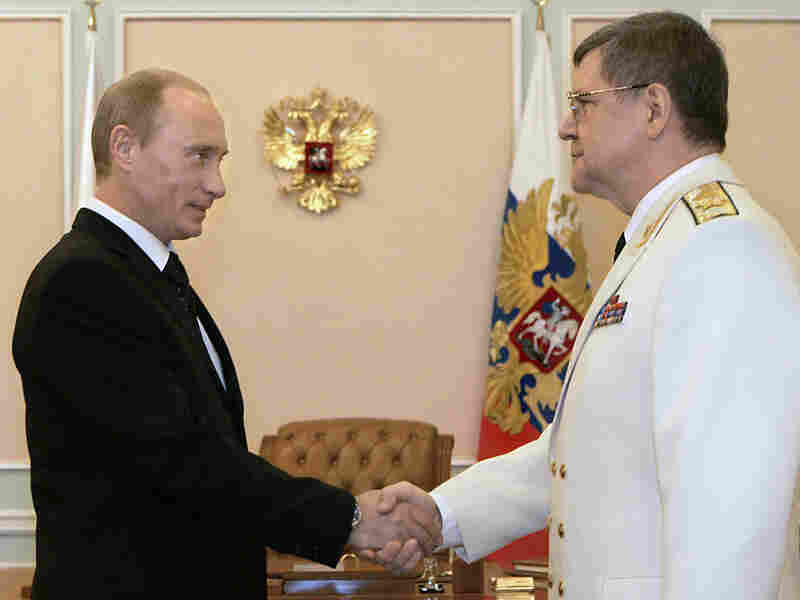 Russian prosecutor-general Yuri Chaika, shown here with President Vladimir Putin in 2007, is skewered in the latest Pussy Riot video.