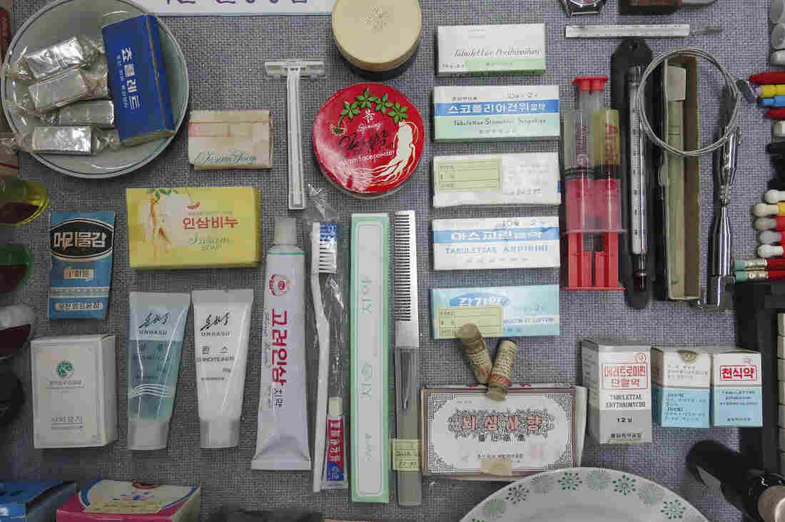 The library displays everyday items from North Korea of the 1990's. Korean insam (ginseng) is used in toothpaste, soap and other products.