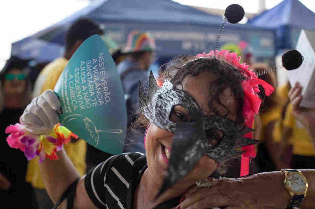 Health worker Elaine Couto, dressed as a mosquito, dances and sings to draw attention to the Zika outbreak hitting Brazil.