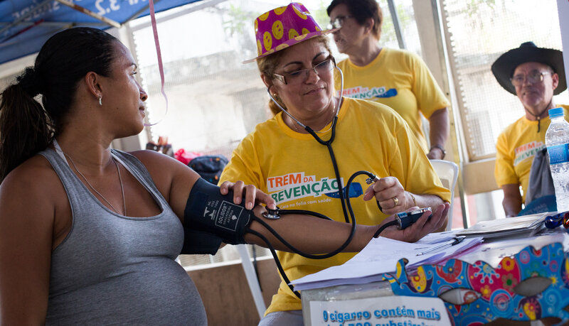 Amanda Fonseca, who is seven months pregnant with her second son, plans to skip Carnival because of her Zika fears. (Rafael Fabres for NPR)