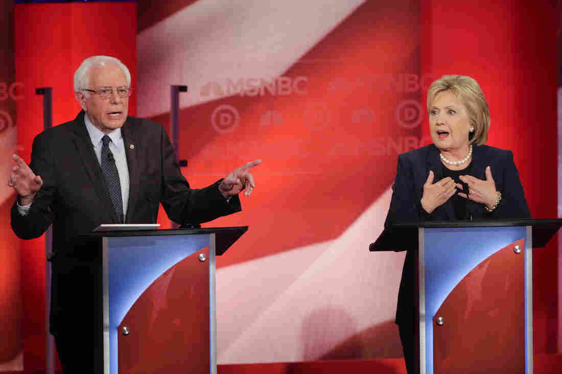 Sen. Bernie Sanders and former Secretary of State Hillary Clinton spar during a Democratic presidential primary debate hosted by MSNBC at the University of New Hampshire on Thursday.