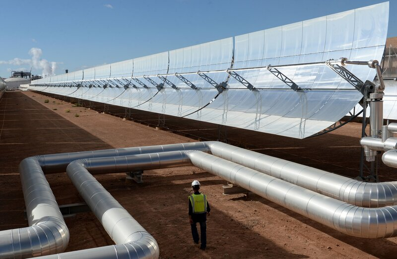 morocco unveils a massive solar power plant in the sahara the two