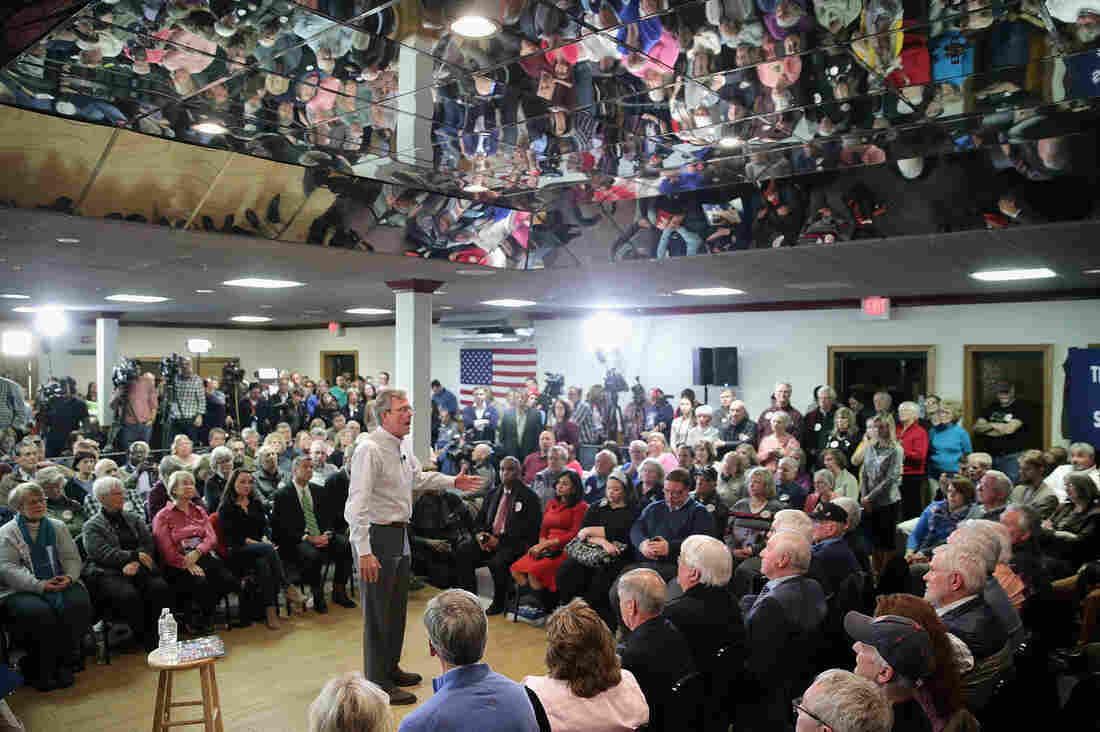 Jeb Bush holds a campaign town hall meeting at the Alpine Club on Monday in Manchester, N.H.