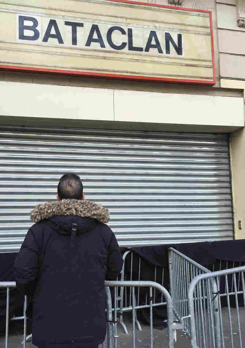 """Didi stands outside the entrance to the Bataclan theater. """"I told myself, I've got to quickly get as many people out of there as possible because these terrorists have come to kill as many people as they can."""""""