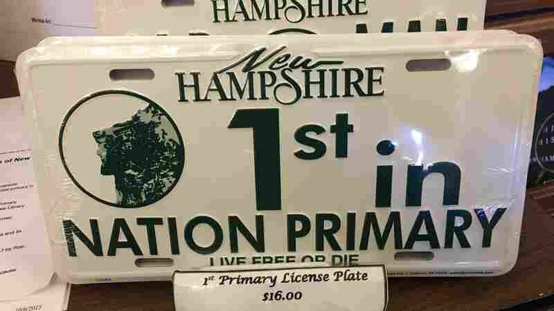 """""""1st in Nation Primary"""" license plates on sale at the New Hampshire State House."""