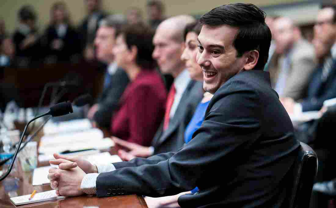 Entrepreneur and pharmaceutical executive Martin Shkreli laughs during a hearing of the House Oversight and Government Reform Committee on Capitol Hill on Thursday.