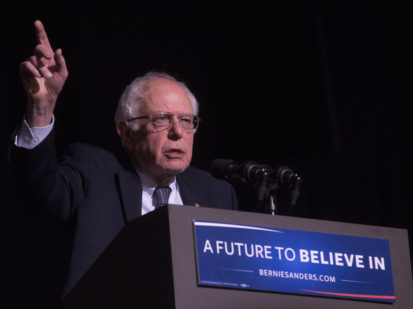Democratic presidential candidate Bernie Sanders speaks during a campaign stop at The Colonial Theatre in Keene, N.H. The Vermont senator is up by double digits in most Democratic polls in the state.