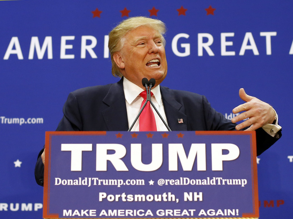 Republican presidential candidate Donald Trump speaks at a rally at Great Bay Community College in Portsmouth, N.H. Trump has had a substantial lead in virtually all GOP polls there, but indications are that Florida Sen. Marco Rubio is gaining some ground.