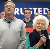 Former first lady Barbara Bush (right), mother of Republican presidential candidate Jeb Bush (left), campaigns with her son at a town hall meeting at West Running Brook Middle School in Derry, N.H.
