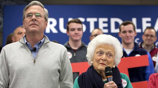 Former first lady Barbara Bush, right, mother of Republican presidential candidate, former Florida Gov. Jeb Bush, left, campaigns with her son at a town hall meeting at West Running Brook Middle School in Derry, N.H. (AP)