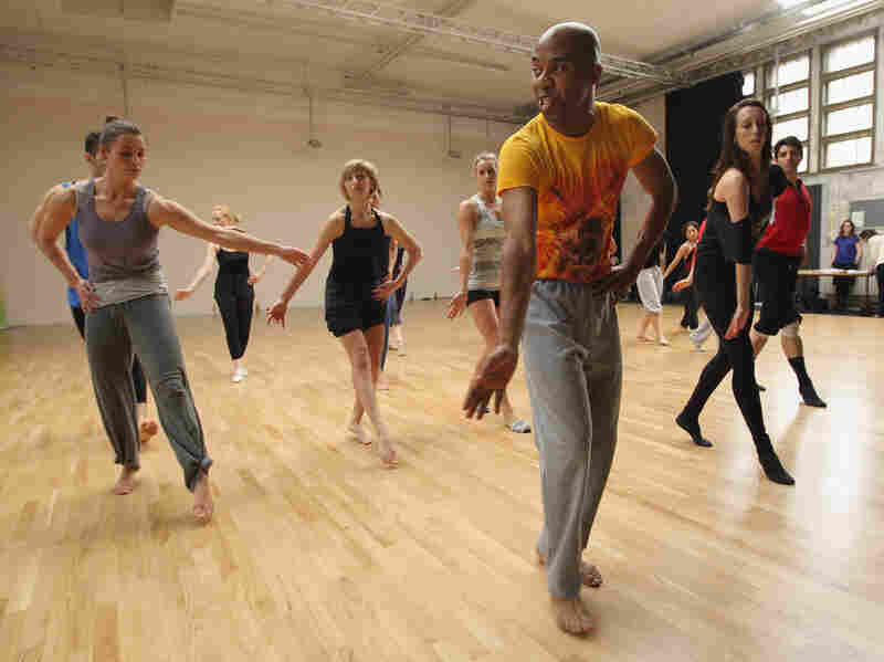 Matthew Rushing, Rehearsal Director of the Alvin Ailey American Dance Theater, leads dancers of the Deutsche Oper Berlin in a masterclass on April 5, 2011 in Berlin, Germany.