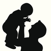 A father holds up his baby.