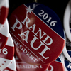 Buttons supporting U.S. Senator Rand Paul sit on display during a campaign stop in Atkins, Iowa, when he was still in the 2016 race.