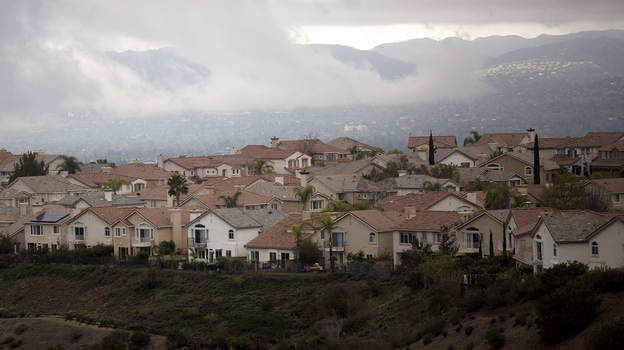 December brought storm clouds to the Porter Ranch neighborhood in Southern California's San Fernando Valley. (AFP/Getty Images)