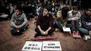 Students take part in a protest at the University of Hong Kong on Jan. 20. They protested after a pro-Beijing official was appointed to a senior role, amid growing worry over increasing political interference in academia.