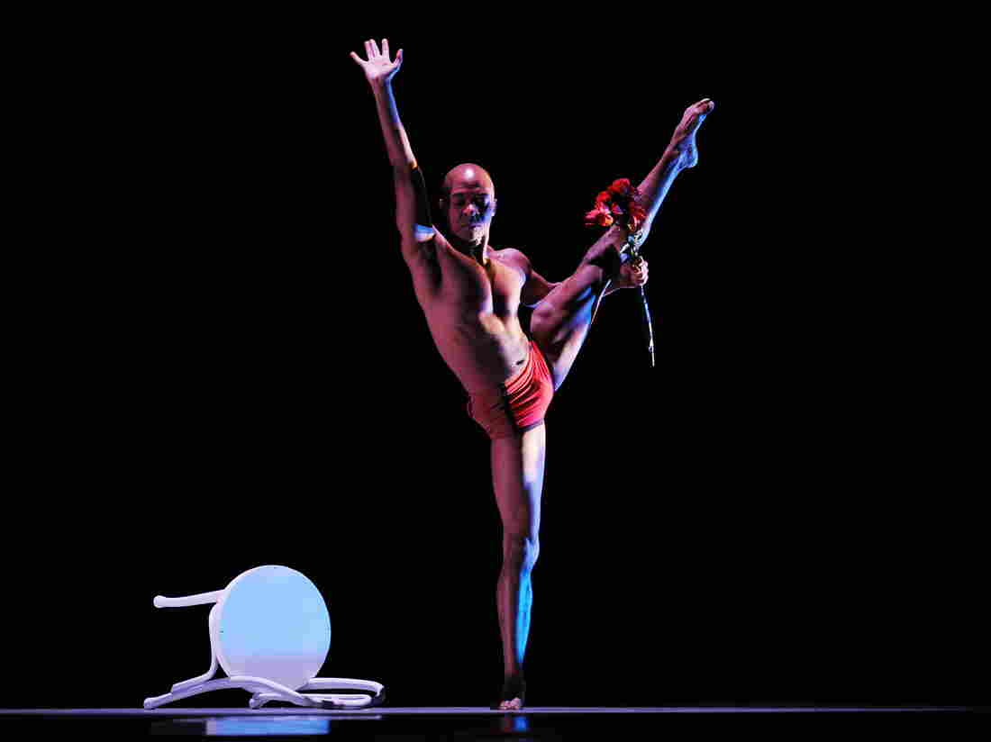 "Matthew Rushing of the Alvin Ailey American Dance Theater during dress rehearsal of ""Frames,"" Dec. 10, 2009 in New York."
