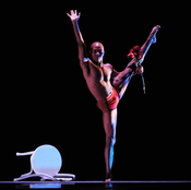 """Matthew Rushing of the Alvin Ailey American Dance Theater during dress rehearsal of """"Frames,"""" Dec. 10, 2009 in New York."""