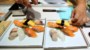 A sushi chef prepares a dish during the Global Sushi Challenge competition in Tokyo, Japan, last September. Japan's new program will certify Japanese restaurants outside of the country that meet the standards of traditional Japanese food, known as washoku.
