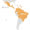 Map of places where the Zika virus has been detected