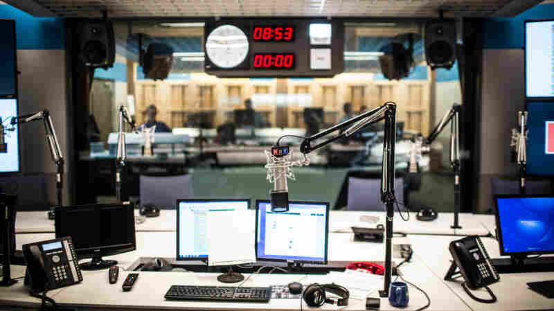 A view from the host chair inside Studio 31, home of All Things Considered, Morning Edition, Weekend Edition Saturday and Sunday at the NPR headquarters in Washington, D.C.