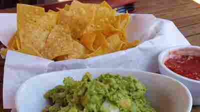 Tortilla chips with guacamole and salsa.