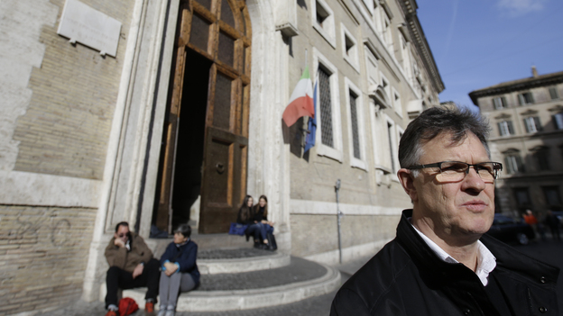 Peter Saunders, a British advocate for survivors of sexual abuse by priests, in Rome on Saturday. Saunders is a high-profile abuse survivor and critic of the Vatican — and until Saturday, was a member of Pope Francis' sex abuse advisory commission. (AP)