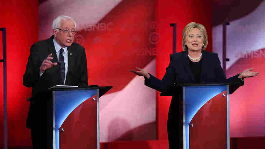 Democratic presidential candidates Hillary Clinton and Bernie Sanders debate on Thursday in Durham, N.H.