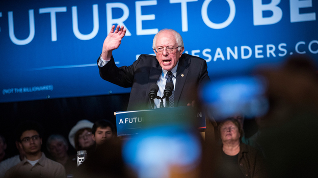 Democratic presidential candidate Sen. Bernie Sanders (D-VT) speaks at a rally in the Exeter town hall on Feb. 5, in Exeter, N.H. (Getty Images)