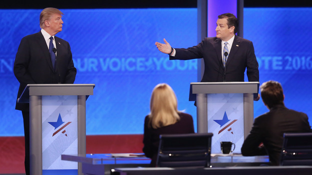 Republican presidential candidates Donald Trump and Sen. Ted Cruz participate in the Republican presidential debate in Manchester, New Hampshire. (Getty Images)