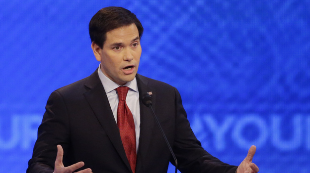 Sen. Marco Rubio, R-Fla., answers a question during the eighth Republican presidential primary debate hosted by ABC News at St. Anselm College on Saturday. (AP)