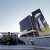 Workers arrive at Levi's Stadium in Santa Clara, Calif., on Sunday before the Super Bowl.