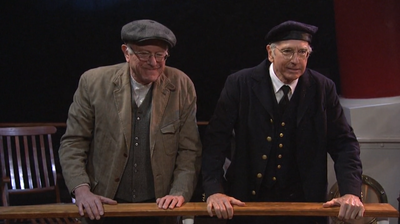 "As ""Bernie Sanderswitzky,"" BernieSanders alluded to a central campaign message in the Saturday night skit. ""I'm so sick of the 1 percent getting this preferential treatment,"" he says, in an argument with Larry David's character over who gets lifeboats first in a Titanic-esque situation."