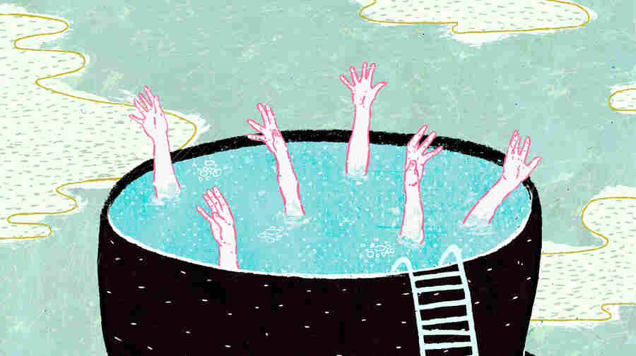 An illustration depicting college graduates drowning in a mortarboard cap full of water