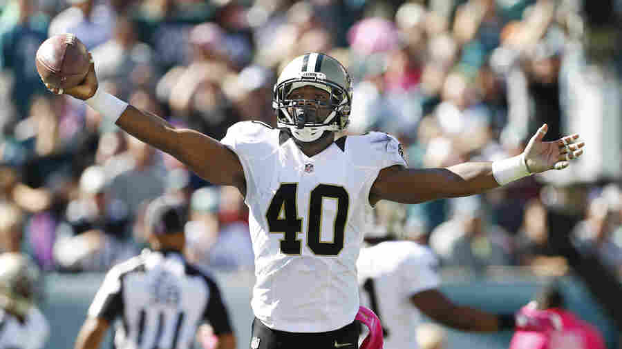 Delvin Breaux of the New Orleans Saints reacts after making an interception in the end zone against the Philadelphia Eagles during a game at Lincoln Financial Field on October 11, 2015