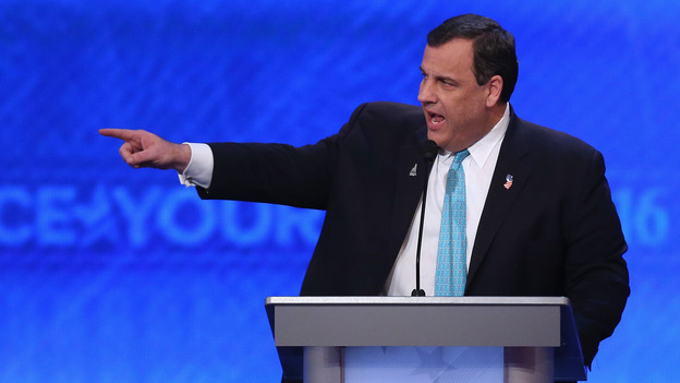 New Jersey Governor Chris Christie took aim at his opponents in Saturday's Republican presidential debate. But how solid is his own record? (Getty Images)