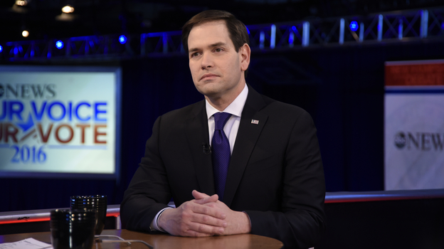 Following a Saturday night Republican presidential Debate, Florida Sen. Marco Rubio appears on ABC's This Week. (ABC via Getty Images)