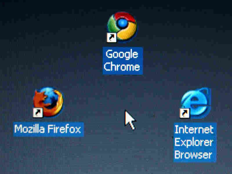 In this photo illustration Google's Chrome browser shortcut, Google Inc.'s new Web browser, is displayed next to Mozilla Firefox shortcut and Microsoft's Internet Explorer browser shortcut.