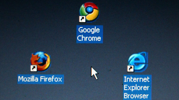 In this photo illustration Google's Chrome browser shortcut, Google Inc.'s new Web browser, is displayed next to Mozilla Firefox shortcut and Microsoft's Internet Explorer browser shortcut. (Getty Images)