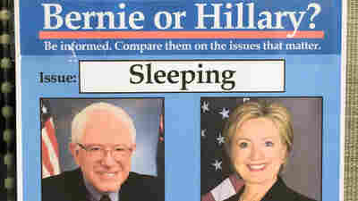 """""""Bernie or Hillary"""" fake campaign signs."""