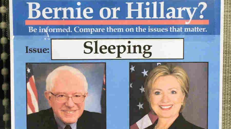 """Bernie or Hillary"" fake campaign signs."