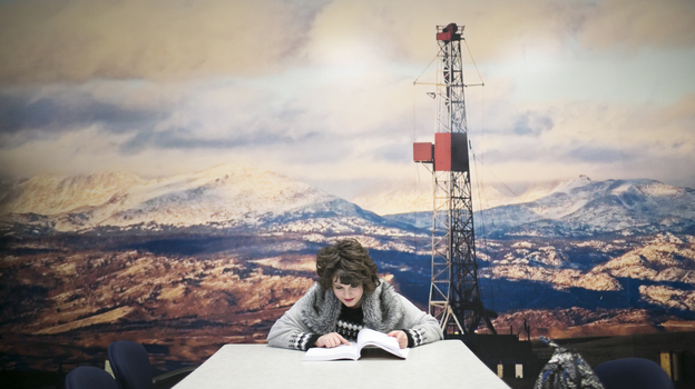 Katie Plas, a junior petroleum engineering major at Marietta College, studies before class. (Maddie McGarvey for NPR)
