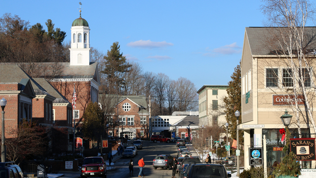 Downtown Peterborough, New Hampshire, where voters will take part in the nation's first primary on Tuesday, Feb. 9, 2016. (New Hampshire Public Radio)