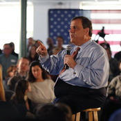 Presidential candidate New Jersey Gov. Chris Christie speaks at a town hall-style campaign event in Hampton, N.H., on Sunday.