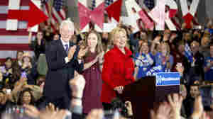 Hillary Clinton, accompanied by her husband, former President Bill Clinton, and their daughter, Chelsea Clinton, during a campaign event this year.