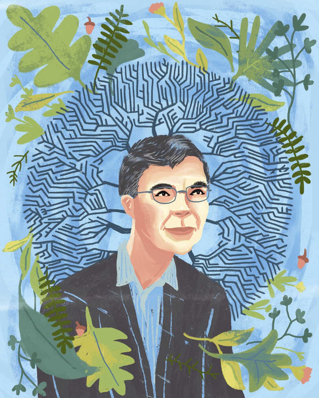 Illustrated portrait of Carl Wieman