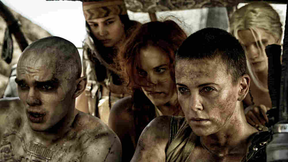 Furiosa (played by Charlize Theron, front right), fights to liberate the wives of a tyrannical warlord in Mad Max: Fury Road.