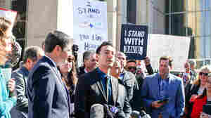 David Daleiden, a defendant in an indictment stemming from a Planned Parenthood video he helped produce, speaks to the media after appearing in court at the Harris County Courthouse on Feb. 4 in Houston, Texas.