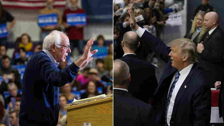Presidential candidates Bernie Sanders and Donald Trump at campaign stops in New Hampshire.