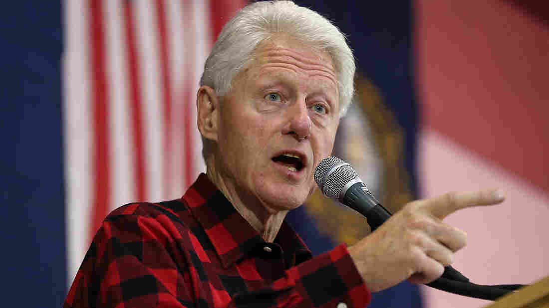 Former President Bill Clinton campaigns for his wife, Hillary Clinton, on Sundayin Milford, NH.
